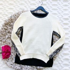 Zara White Wool and Black Lace Sweater